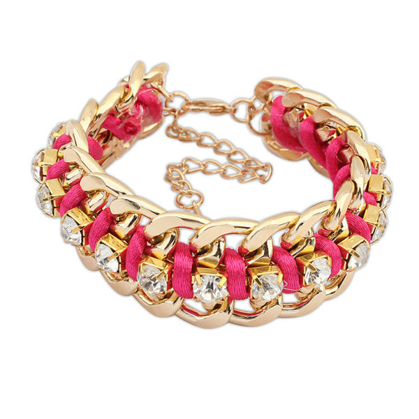 Gold plated chunky chains for jewelry cute kids plastic bangles plum colored ribbon bracelet PB1883
