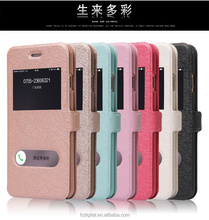 QWD factory price premium touch screen rotating view window color leather flip phone case for iphone6 plus