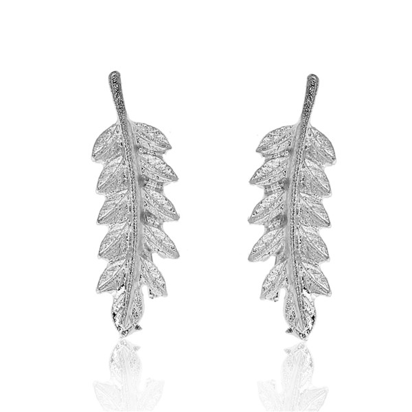 New Fashion Climbers/ Crawlers Silver Tone Leaf Ear Rings