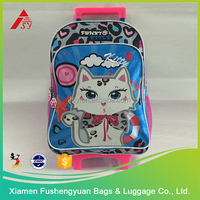 kid's animal print school bags and backpacks trolley bag kids polyester luggage trolley bag for student