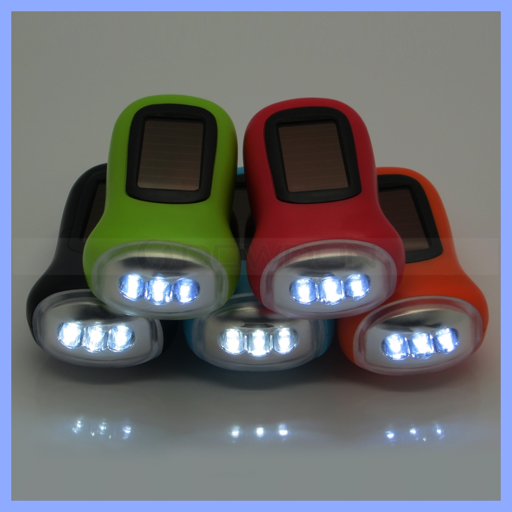 Mini Portable Outdoor Gift 3 LED Dynamo Torch Hand Crank Flashlight Solar Powered Lamp