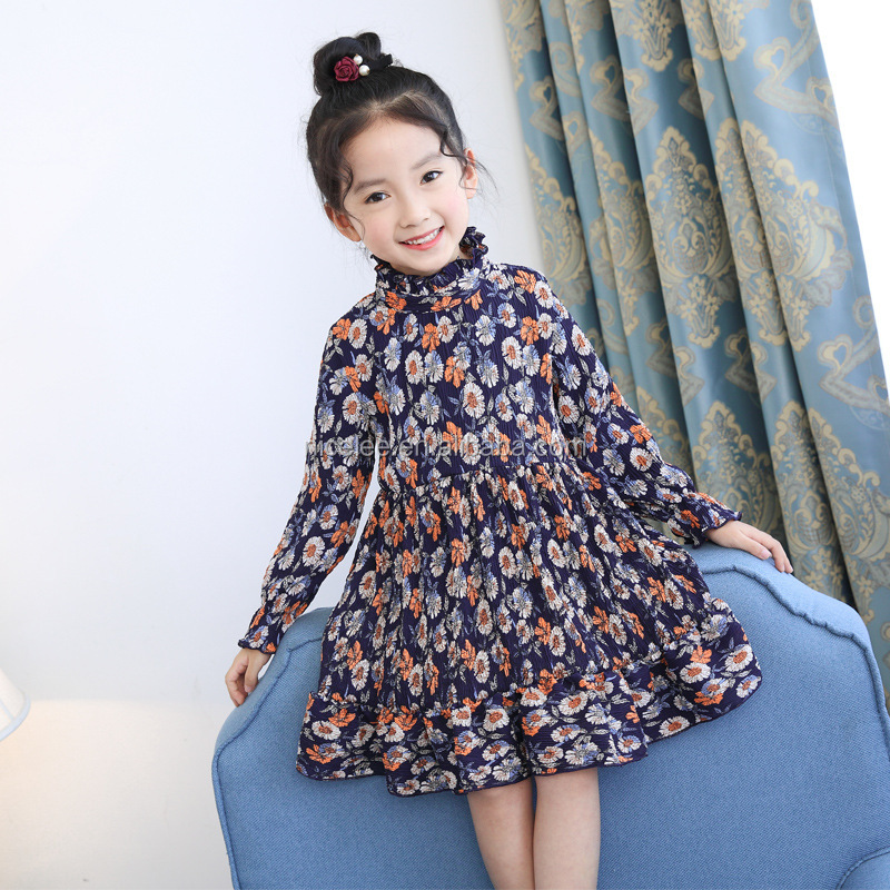 NS1536 new fashion kid girl long sleeves autumn printed dreses