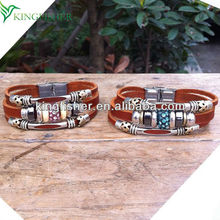 Stainless steel clasp alloy tube pave rhinestone ball leather bracelet for couples gifts