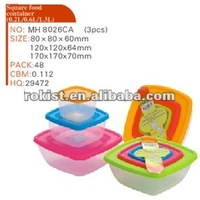 3pcs square stackable food container set