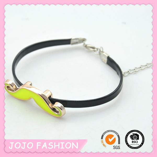Lobster clasp closed yellow moustache rubber band bracelet patterns with extension chain