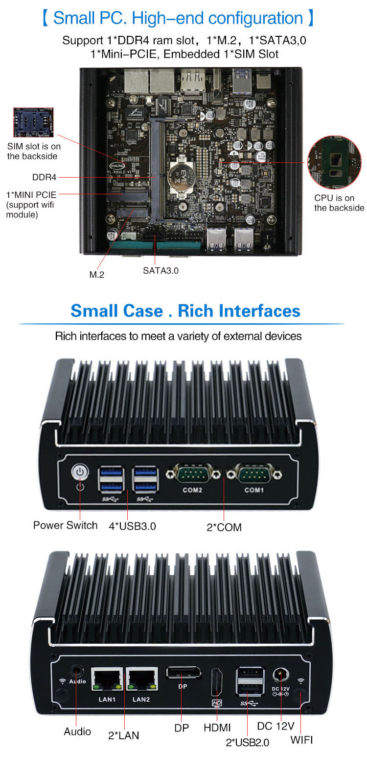 Latest Nano PC IBOX-501 N13 L2 fanless Skylake i3-6100U dual lan 4USB3.0 2COM win 10 Mini PC