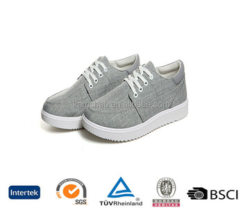 Best selling online reasonable price fashion lace up thin bottom gray casual canvas sneakers shoes for men