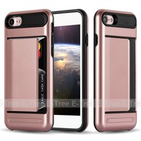 fashionable card slots hybrid armor mobile phone case for iphone 7 case tpu pc