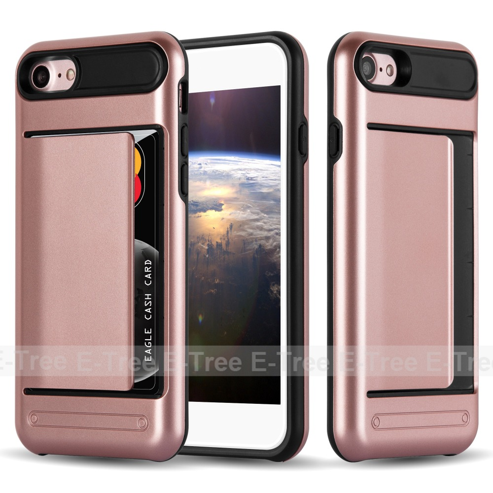 fashionable card slots hybrid mobile phone case for iphone 7 case tpu pc