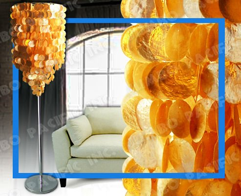 "71"" Long Gold Color Capiz Floor Lamp Shades"