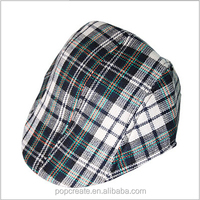green high quality 2015 checked printed beret cap
