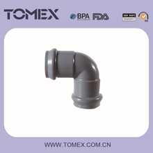 2015 wholesales china plastic type two faucets 90 degree elbow grey color pvc fittings with rubber