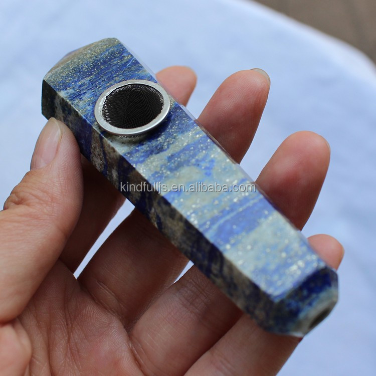 Hand Carved Blue Lapis Lazuli Stone Crystal Smoking Pipe For Sale