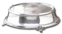 Cake stand , Crystal cake stand/Antique cake stand with hanging crystals/Decorative wedding cake stand ,Silver Plated Metal Cak