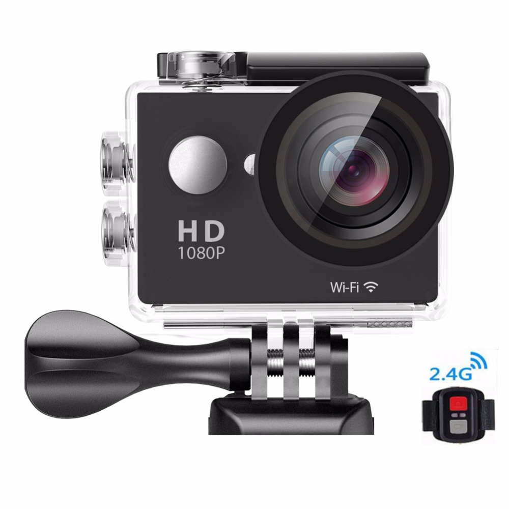 "1920*1080P Full HD WIFI and Remote Control RF 2.4G Action Camera Sport Camcorder 170D Lens 2"" LCD 30M Waterproof Camera DV-29"