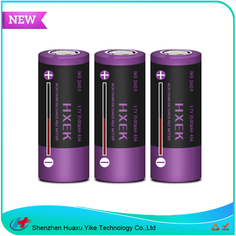 New arrival 3.7v 3500mah 40A IMR 26650 li-ion batteries for e cig