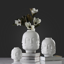 New style white antique male face figurine unique ceramic flower vase