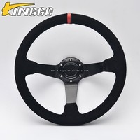 top selling products in alibaba 14inch deep dish pvc / suede / pu / real leather newly design steering wheel spinner knob