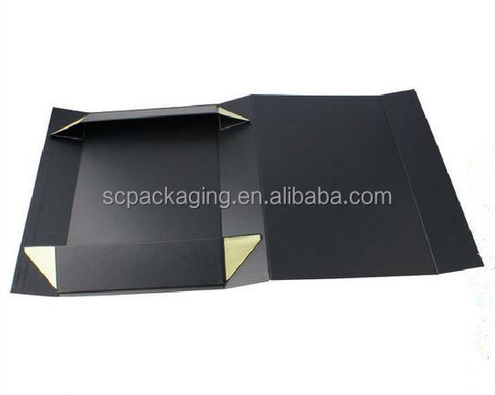 big flat black cardboard gift box with logo hot stamping