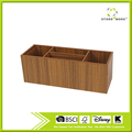 4 Compartment Wood Desktop Office Supply Caddy