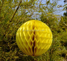 yellow hanging paper Honeycomb balls for christmas decorations