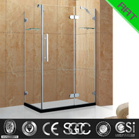new design square tempered glass open shower screen