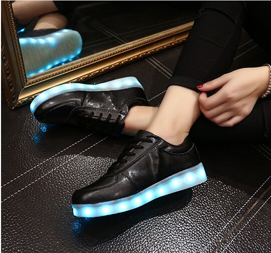 glowing shoes 2016 New men's fashion sneakers black running shoes male lighted casual shoes