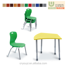 MDF material with metal frame round adjust folding desk school student study for kid furniture