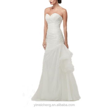 Hot selling beaded white ruffle beautiful elegant long wedding dress bridal gown