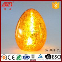 Gold color easter glass egg led light decoration