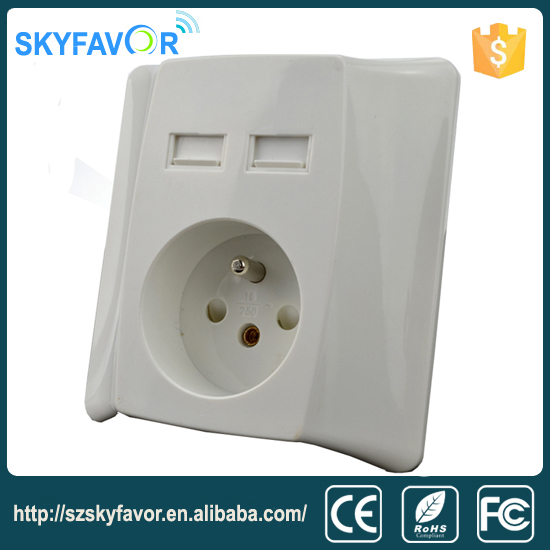 Alibaba express european hotel 2 gang USB wall socket smart switch for French