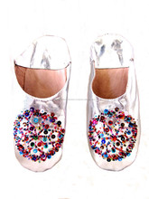 Pretty Moroccan Handmade Genuine Leather Sequins Silver Babouche Slippers