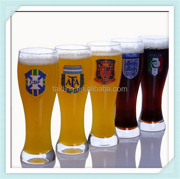 2016 brazil world cup football beer glass cup 600ml crystal fancy beer glass with country logo