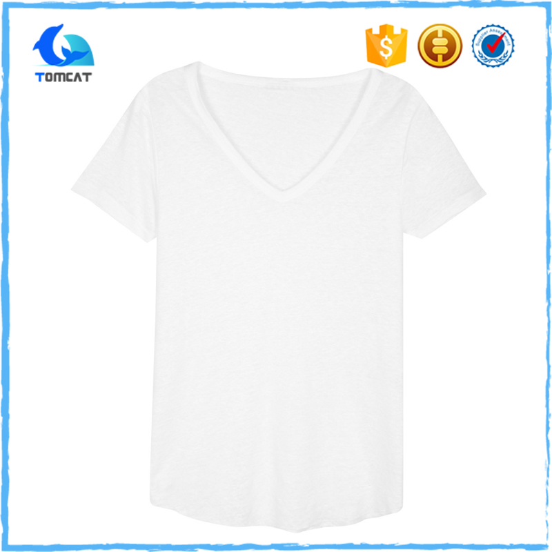 Custom Design Deep V Neck Cotton Wholesale T Shirts For Men