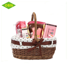 Custom 100% handmade eco-friendly handled colorful fancy natural wicker gift Easter basket with liner