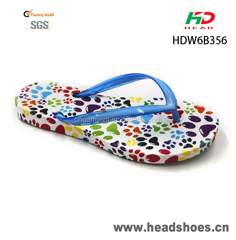 fashion women's colorful bright dot printing flat flip flops