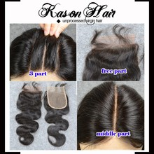 Qingdao Kason Hair Main Hair Products 100% Unprocessed Brazilian Hair Closure 4*4 Bleached Knots