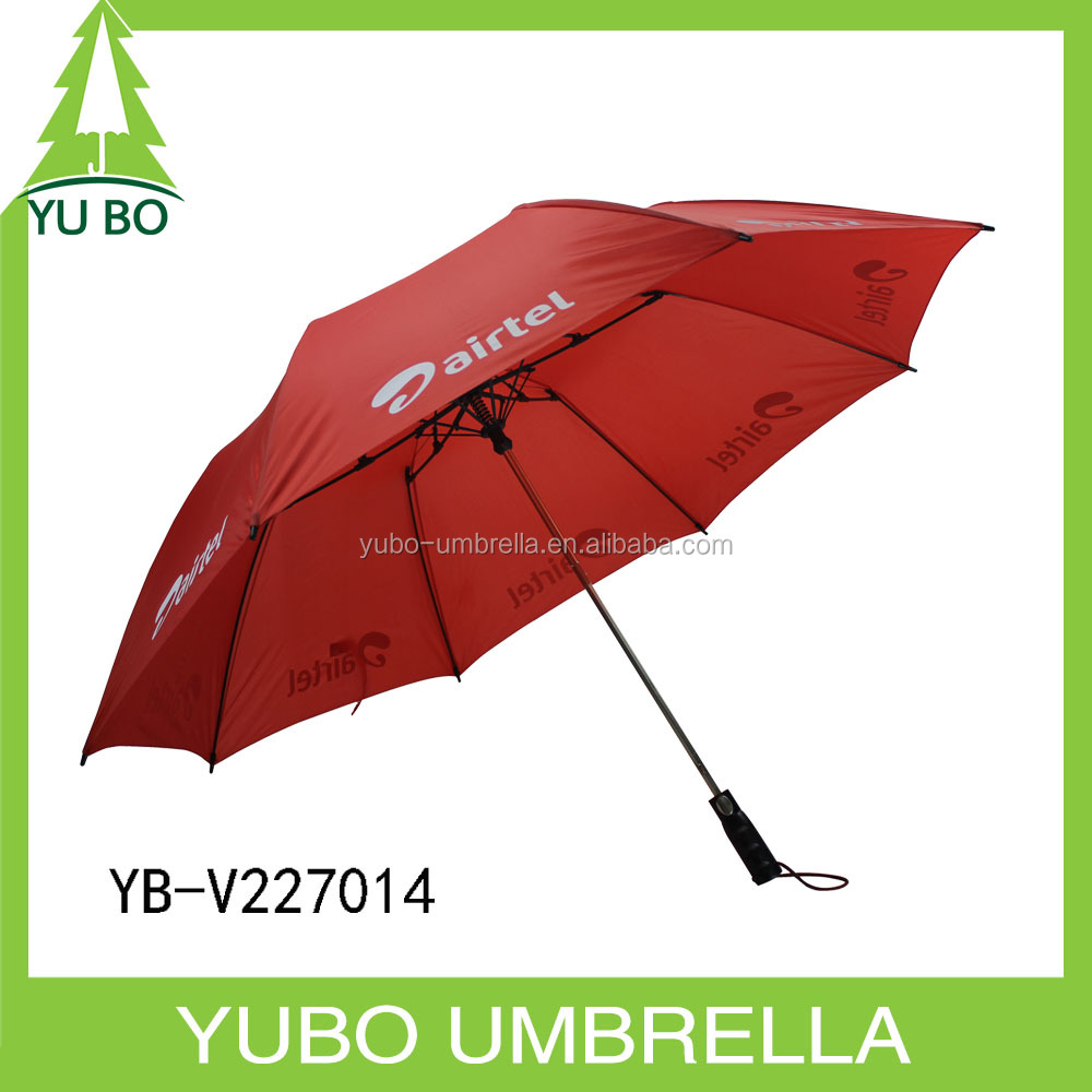 Auto open red 2 fold 27 inch umbrella with white logo print fiber frame strong windproof two folded umbrella
