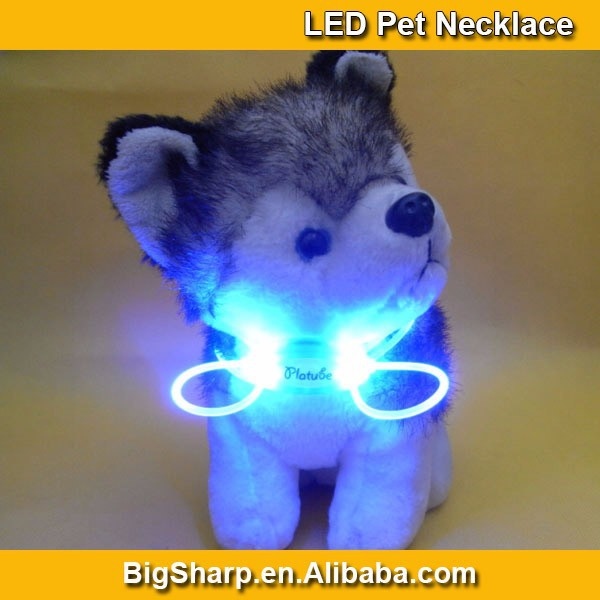 80cm Pet LED Lighting Dog Necklace 8 LED Color Light Necklaces Safety Flashing Pet Wedding Dress DIY Sharp DP004