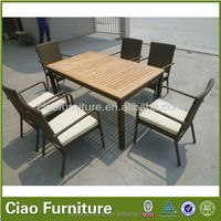 patio teak wood outdoor dining table set