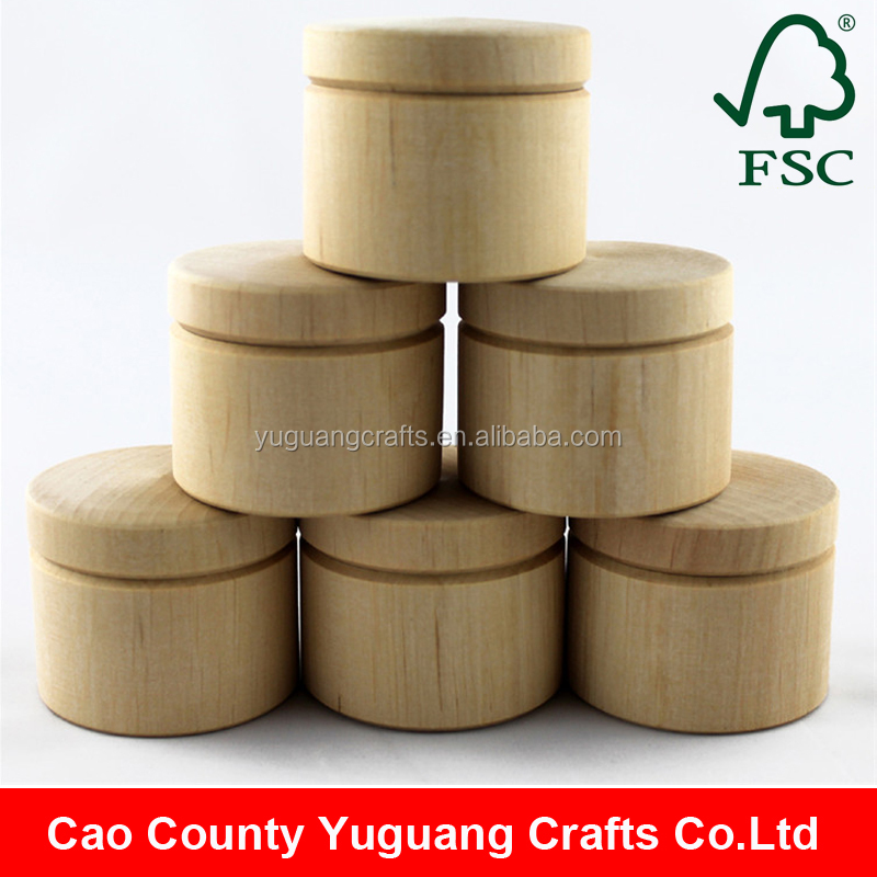 Handmade Small Cheap Unfinished Round Wood Box Packaging