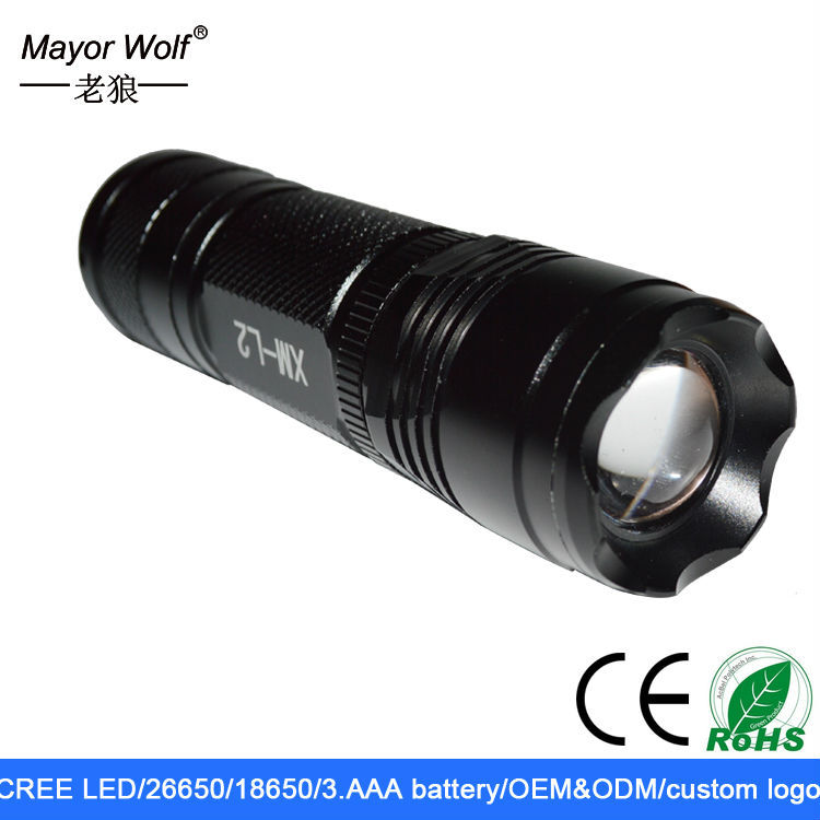 multi function rechargeable cree xml l2 <strong>U2</strong> flashlight with wrist strap