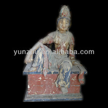 Archaize hand made platane wood carving sitting Buddha,