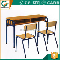 2016 best selling oak adjustable wooden children desk and chair