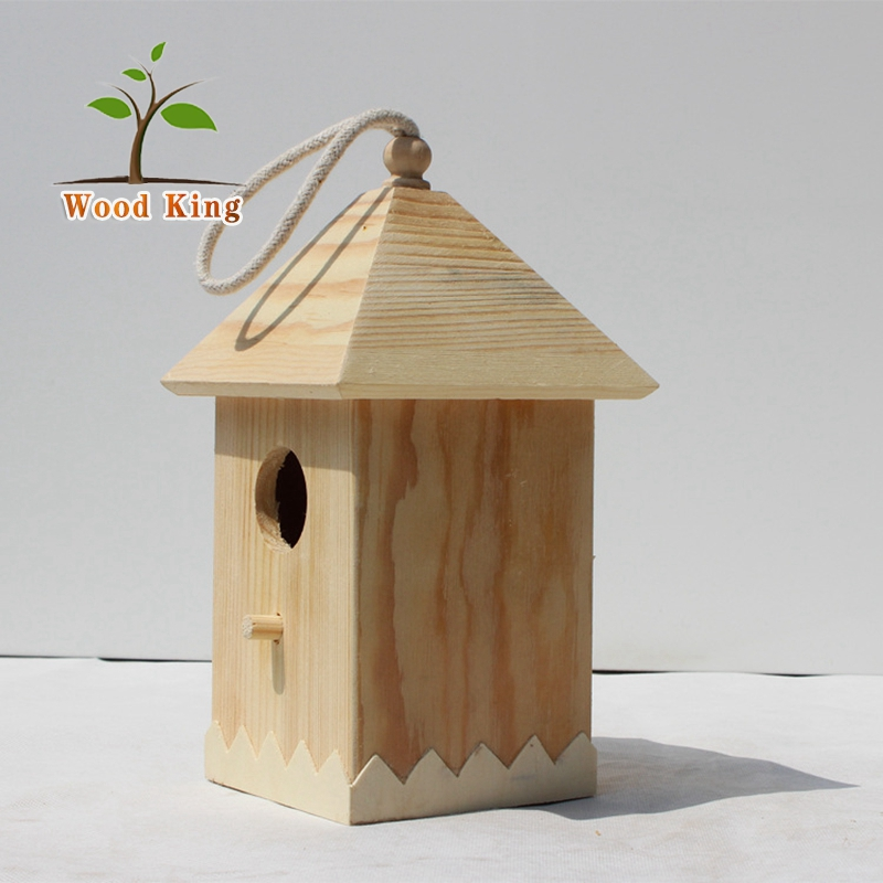 Cartoon Versatility Furnishing Articles Woodwork Hanging Decoration Chinese Bird House Cage Wooden Bird Nest