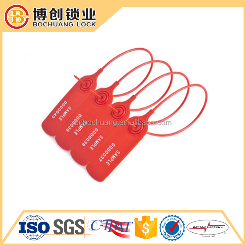 Plastic security seal with barcode for container shipping