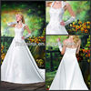 Honorable Halter Appliqued Beaded Ruched Hollow Lace Satin A-line Catheral Train Princess Wedding Dress