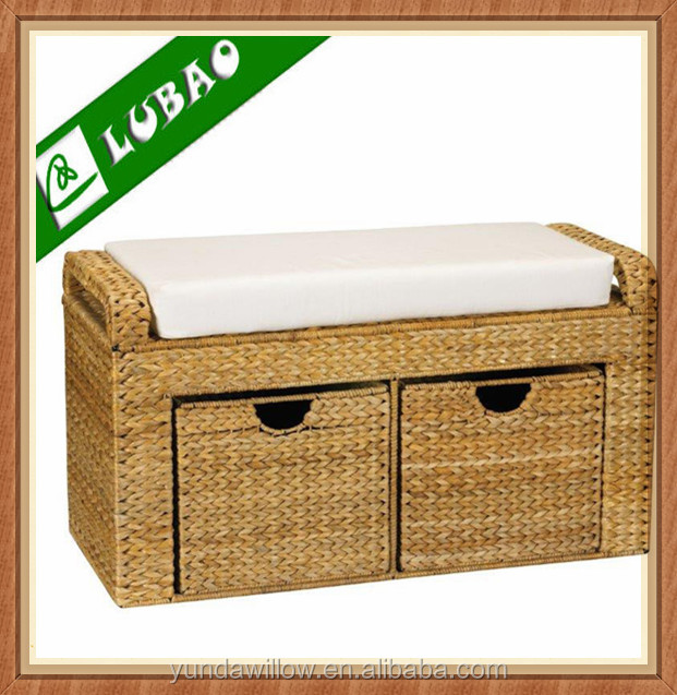Handmade Indoor Willow Banana Leaf Storage Drawer Bench With Wicker Basket