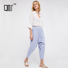 Comfy all cotton drop crotch fit easy drawstring waist womens harem pants