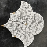 Fan shaped Marble Mixed Brass Gold Polished Mosaic Tile